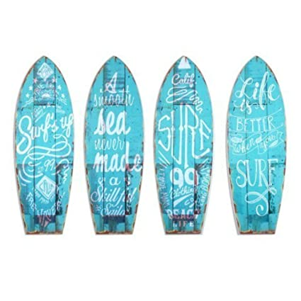 CAPRILO Set de 4 Placas Pared Decorativas de Madera Tablas Surf. Cuadros y Apliques.