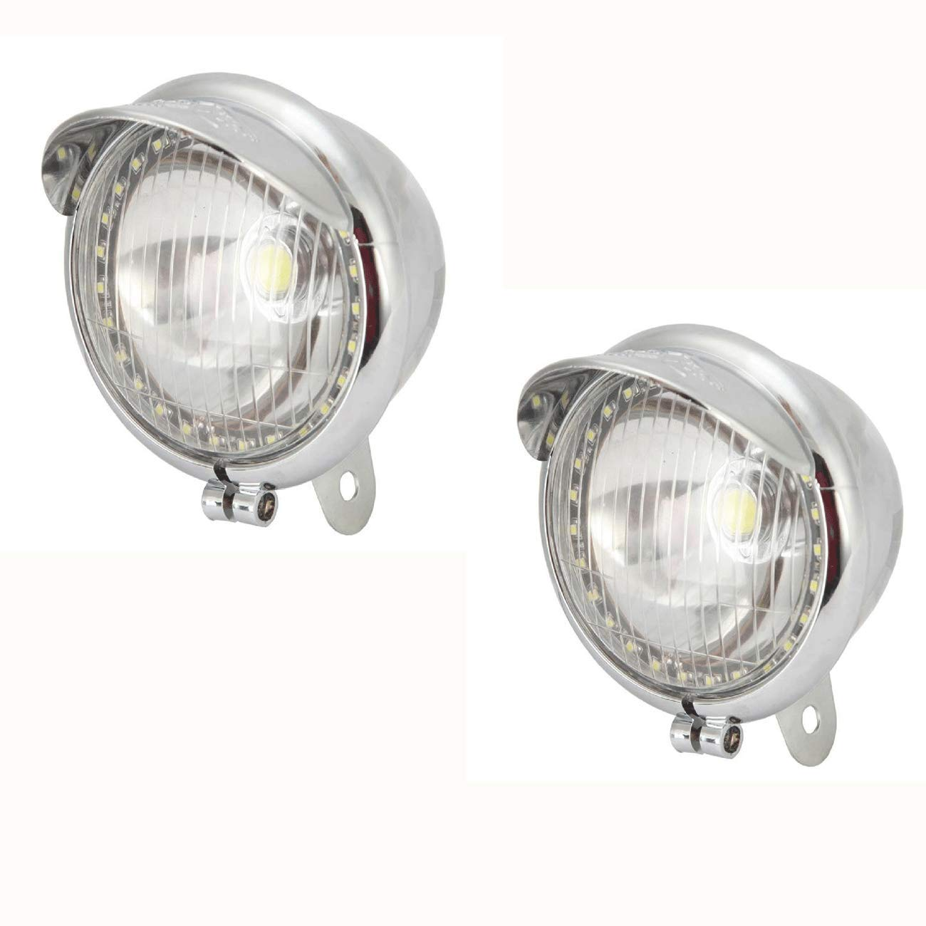 TOPAUP LED Spotlight Passing Light Fog Lamp Projector Angle Eye Motorcycle Cruisers Bobber Chopper Harley Davidson Chrome 1 Pair