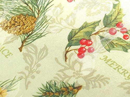 xp-hs144n16 Benson Mills Holiday Spirits Christmas SET 144 x 60 Tablecloth & 16 Dinner Napkins Jacquard Damask Pine Cones & Berries