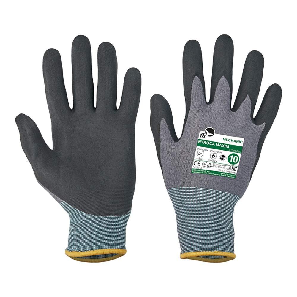 CERVA 0108 0069 99 9 NYROCA MAXIM FH Lot de 120 gants sous blister Noir//gris Taille 9