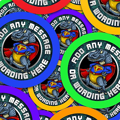 Superhero T-Rex Dinosaur Personalized Sticker Labels (6 Stickers @ 3.7