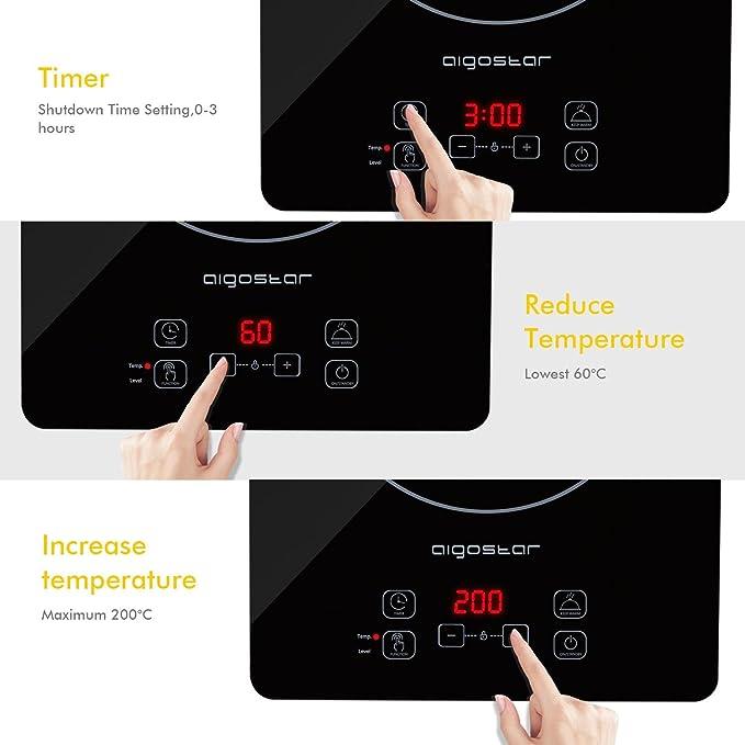 Aigostar Set Blackfire 30IAW - Placa inducción portátil multifunción, 2000 W, control táctil, 10 niveles potencia, función mantener caliente, ...