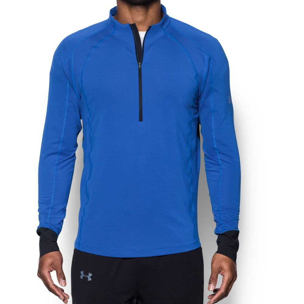 Under Armour Men's ColdGear Reactor Run ½ Zip,Lapis Blue (984)/Reflective, Medium