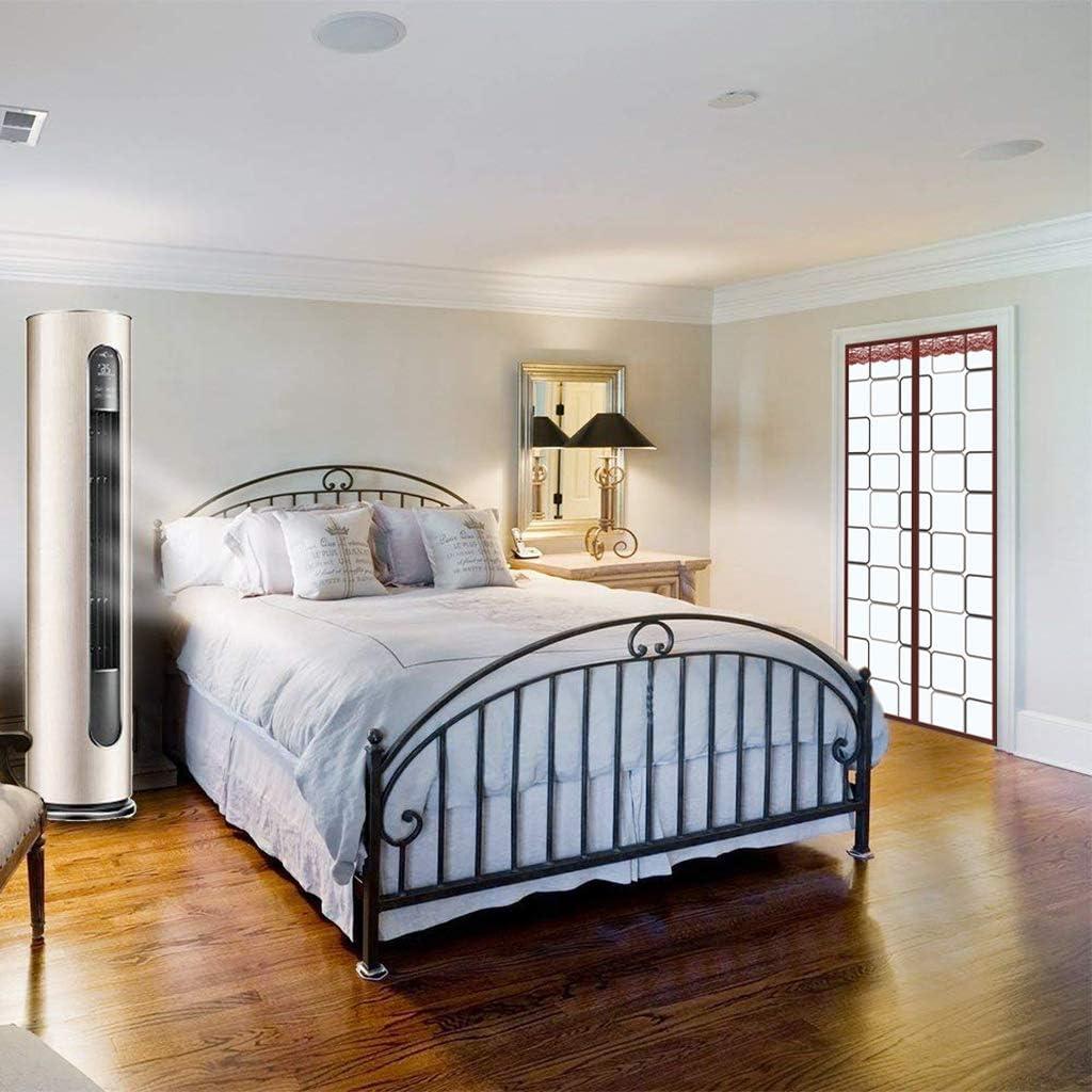 HMHD Magnetic Thermal Door Curtain Noise Reduction Keep Warm Door Curtains Thermal Bi Folding Doors Automatic Close for Back Doors Front Doors Patio Doors -Brown-80x190CM