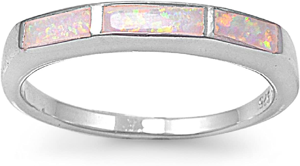 CloseoutWarehouse Tri Rectangular Center Pink White Simulated Opal Ring 925 Sterling Silver Size 9