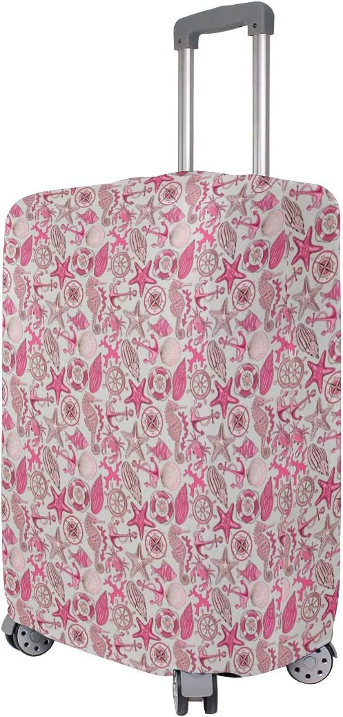 Fashion Travel Anchor Sea Animals And Nautical Pink Luggage Suitcase Protector Washable Baggage Covers