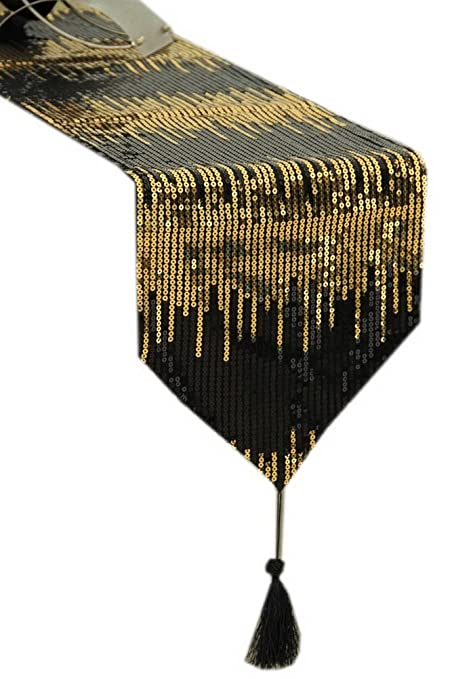 Genial Panda Superstore Luxury Sequin Table Runner Black U0026 Gold Sequined Table  Runner 86.5u0027u0027