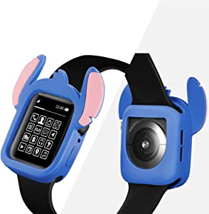 Yu Store Lovely Cartoon Stitch Cover Compatible with Apple Watch Series 4/5, Soft Silicone Protector Bumper Frame Protective Double Color Case for iWatch Series 4/5 40mm 44mm Girls Boys (Blue, 40MM)