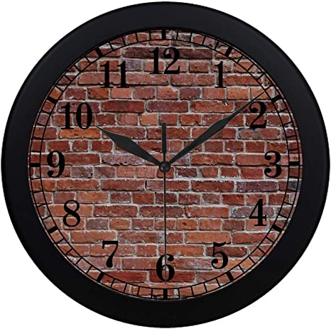 Interestprint Vintage Old Brown Brick Wall Round Wall Clock Large Number Clock For Office School Kitchen Classroom Bedroom Living Room Black Home Kitchen