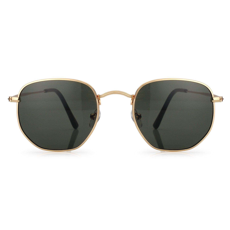 of Small Face and Medium Size Barbie Pink Bollovi Women and Men Glasses Vintage Geometry Frame Sunglasses Mini Retro Rectangular Metal Rim UV 400 Coating