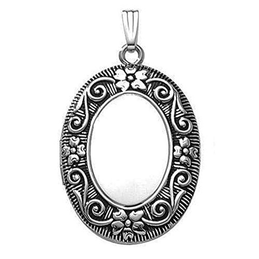 Sterling Silver Oval Antique Picture Locket - 3/4 Inch X 1 Inch with Engraving