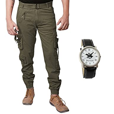 f157c23f2 XEE Men's Cotton Relaxed Fit Zipper Cargo Jogger Pants: Amazon.in: Clothing  & Accessories