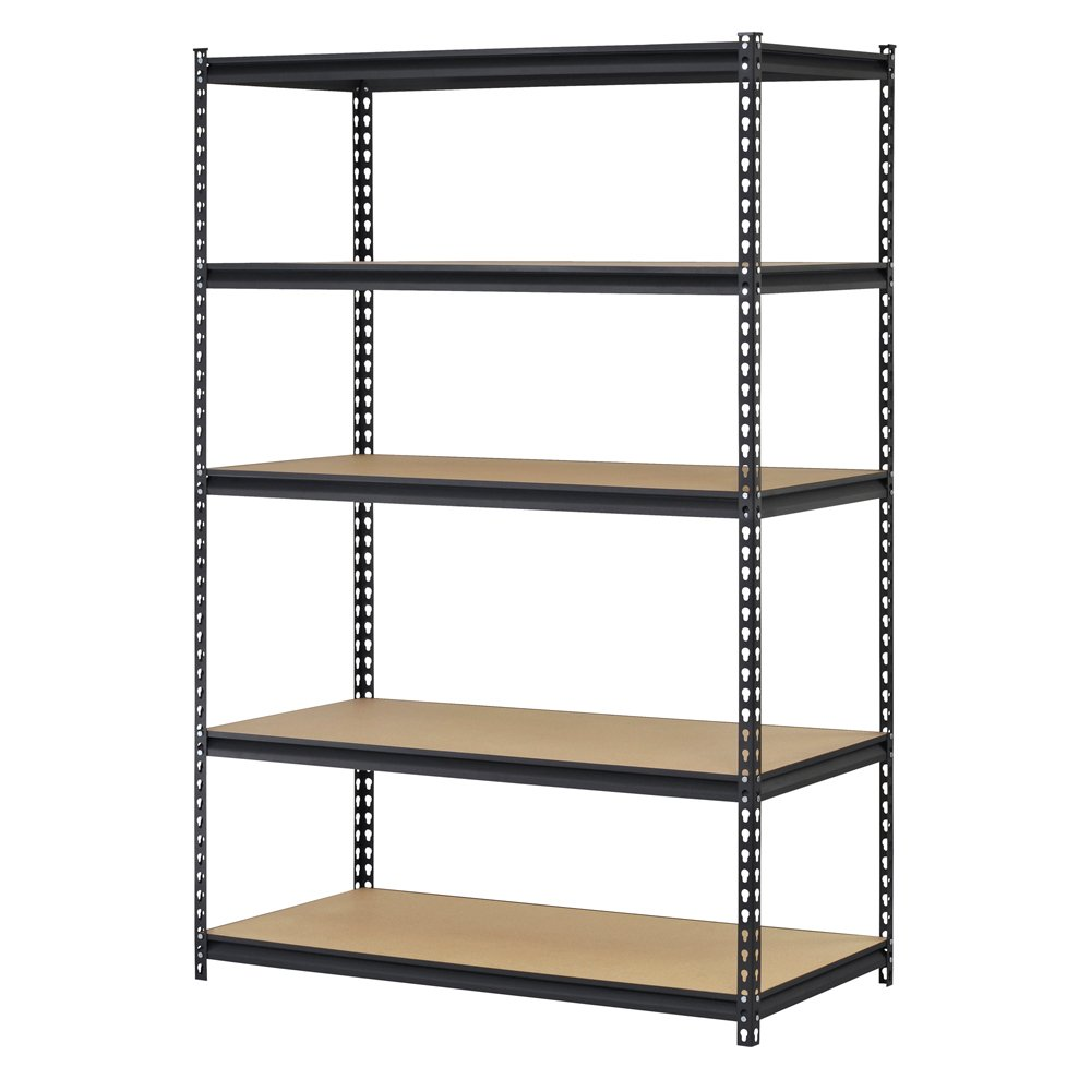 Edsal UR245AZ-BLK Steel Storage Rack, 5 Adjustable Shelves, 4000 lb. Capacity, 72'' Height x 48'' Width x 24'' Depth, Black