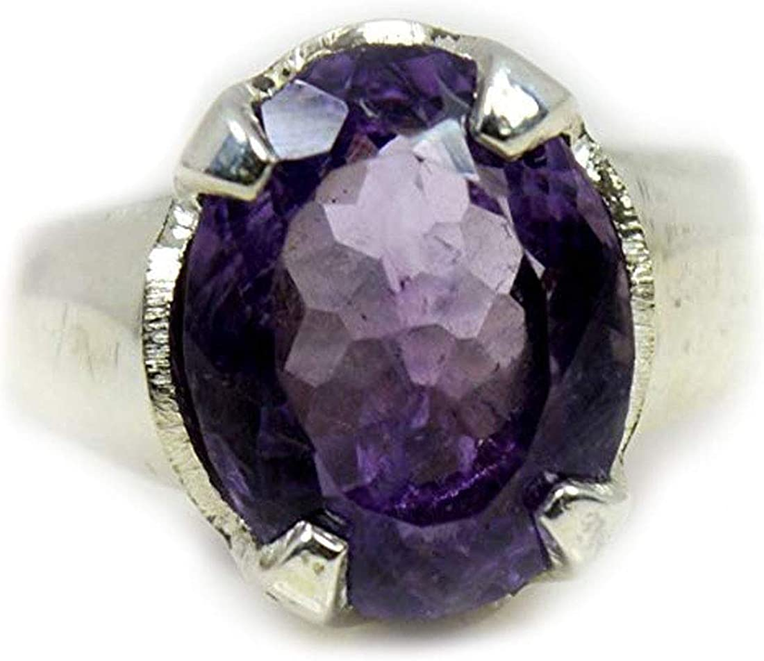 Jewelryonclick 3 Carat Real Amethyst Silver Ring for Women Adjustable Purple Oval Stone Jewelry Size 5-13