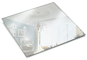 12 Inch Square Mirror Candle Plate 3 mm Thick with Bevelled Edge set of 12