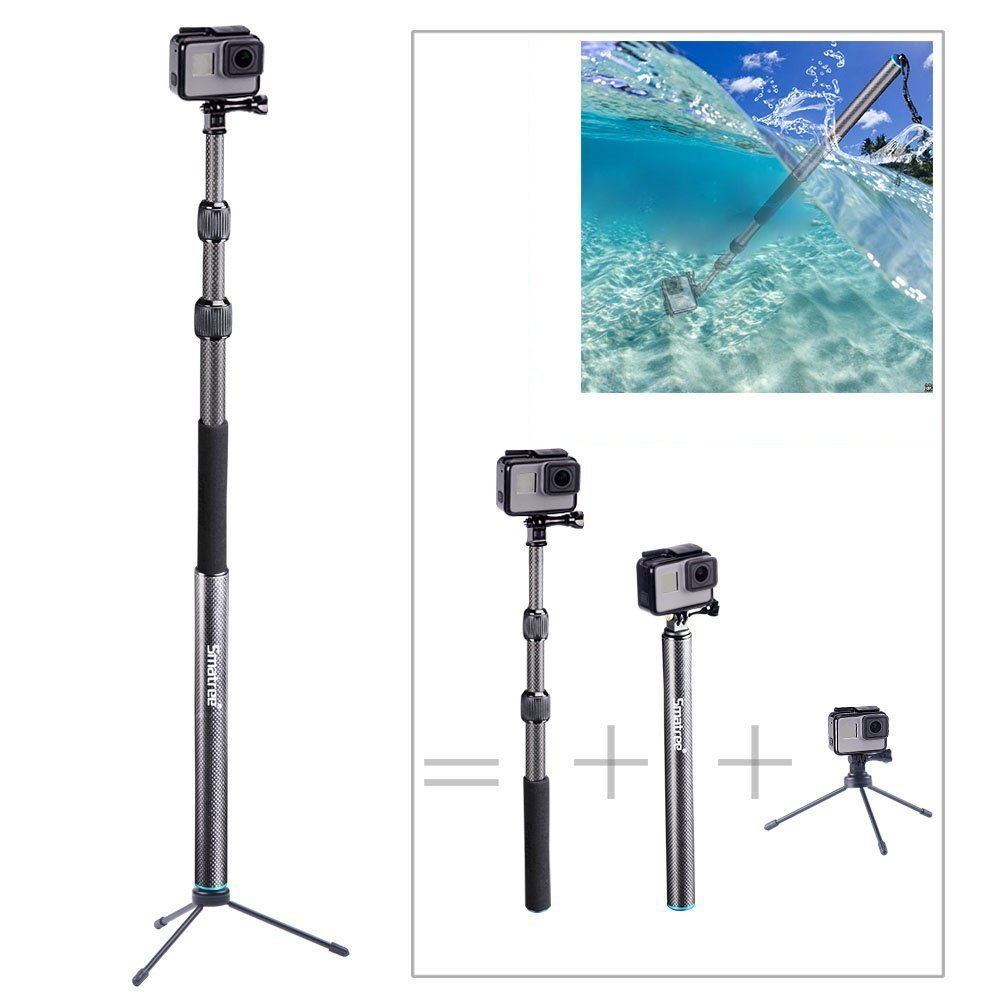 Smatree S3C Carbon Fiber Detachable Extendable Floating Pole with Tripod Stand Compatible for GoPro Hero Fusion/8/7/6/5/4/3 Plus/3/GoPro Hero 2018/DJI OSMO Action Camera by Smatree