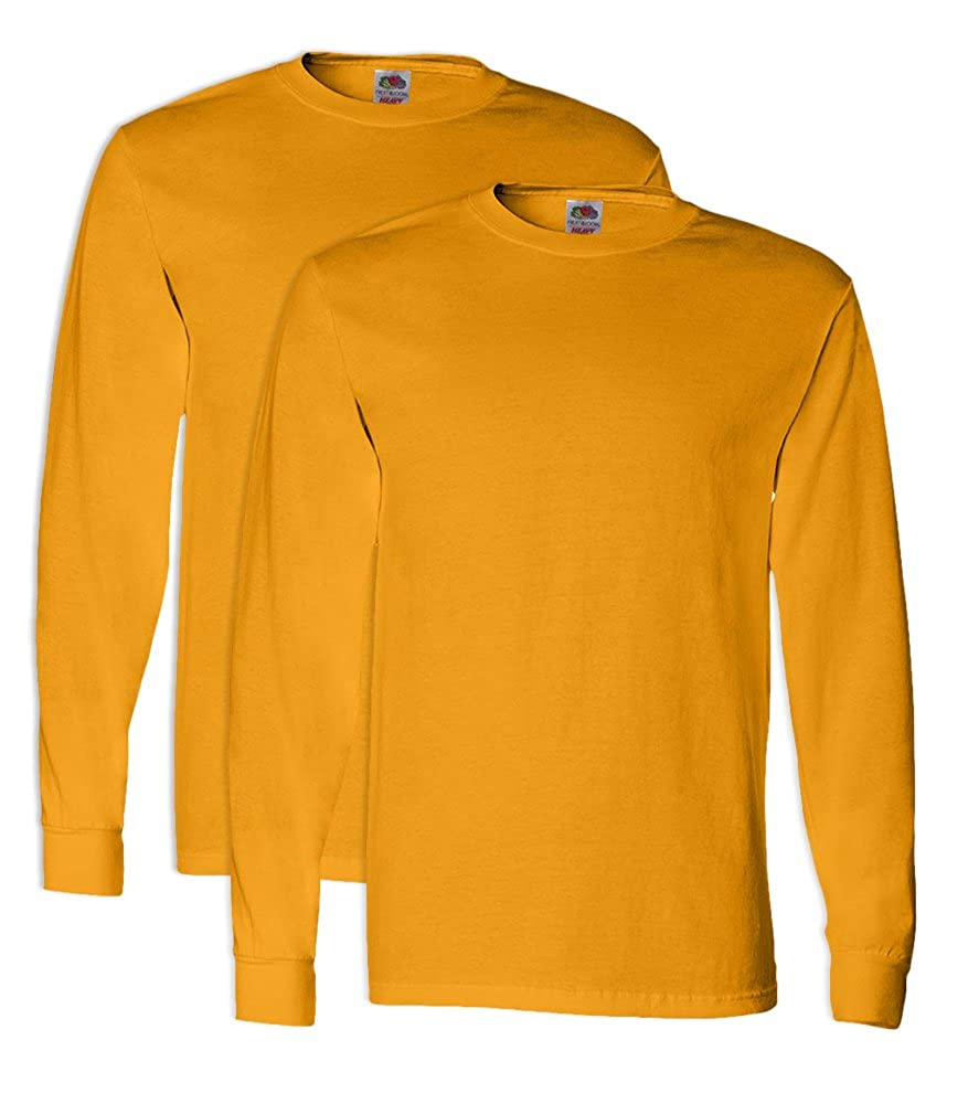 2 Pack FoTL 4930 Mens Heavy Cotton Long-Sleeve Tee Large Gold