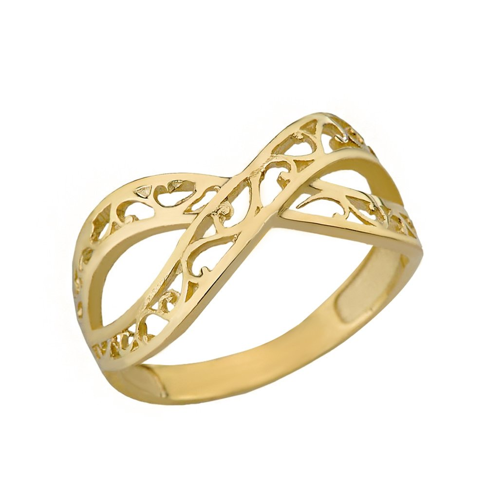 Women's 10k Yellow Gold Forever Filigree Infinity Ring (Size 10.5)
