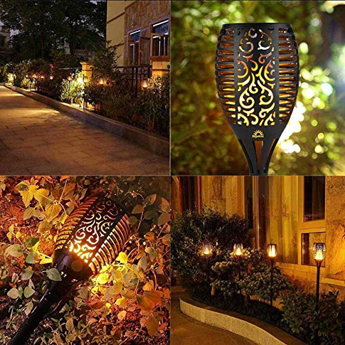 Solar Flame Torch Lights Outdoor, Decorative Pack of 2 Piece Lamp with Dancing Flames Torches Landscape, Waterproof Outdoors Garden Patio Deck Decorations Lighting with Auto On/Off Security Light