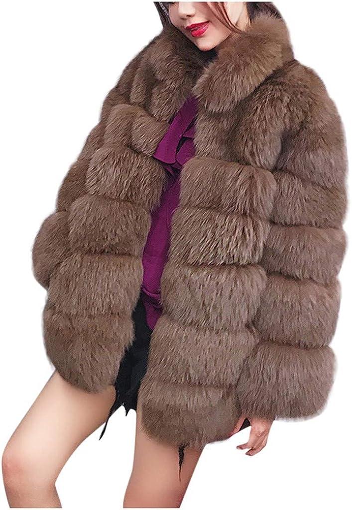 Eduavar Womens Warm Winter Coats Faux Fur Fleece Sherpa Fluffy Jacket Open Front Overcoat Long Sleeve Streetwear Outwear