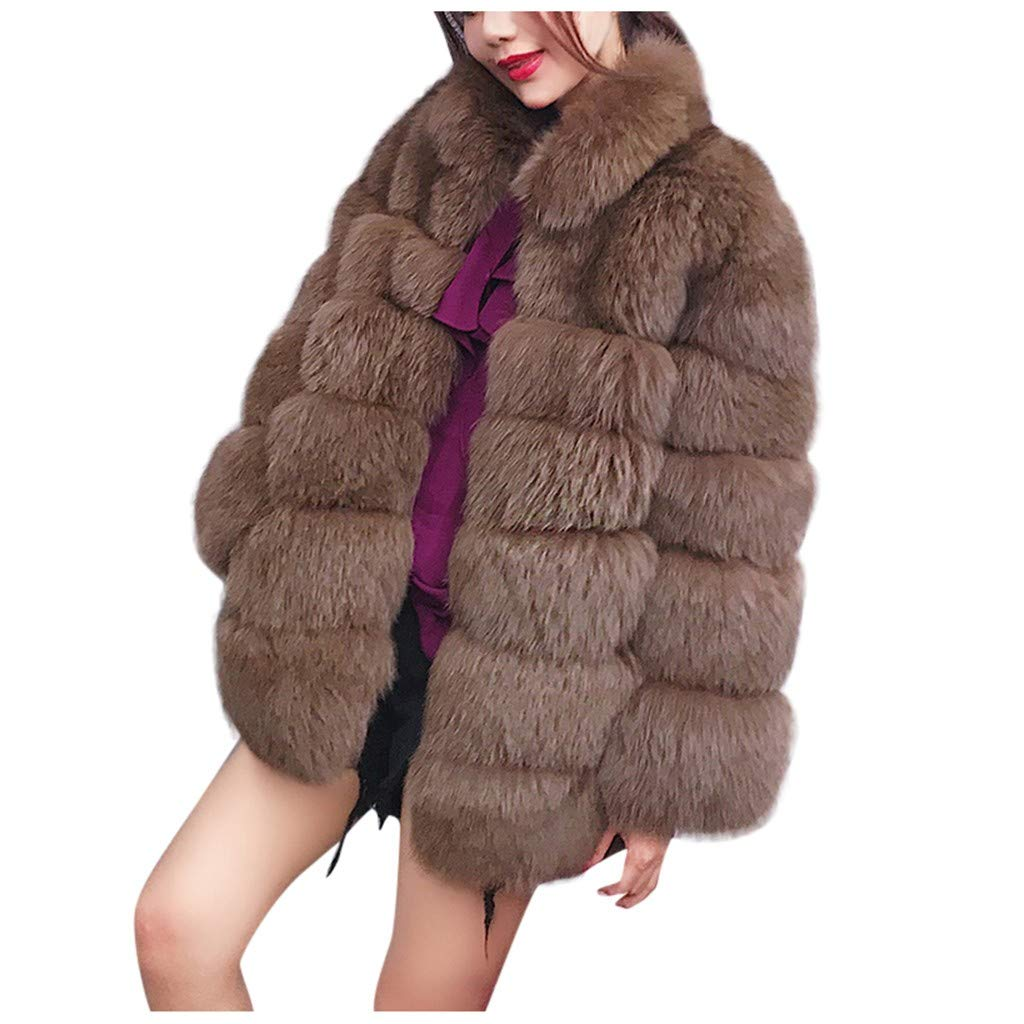 Dainzuy Womens Faux Fur Jacket Winter Warm Lapel Plush Open Front Cardigan Coat Long Sleeve Loose Parka Outwear Brown by Dainzuy Women Winter Clothes