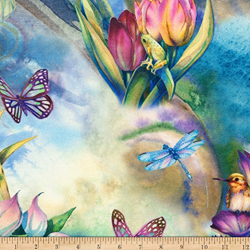 Robert Kaufman Morningmoon Fairies Garden Flowers Birds Butterflies Fabric, Multicolor, Fabric By The Yard