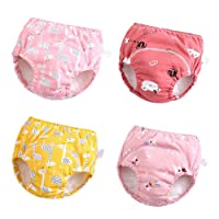 Baby Girls'4 Pack Cotton Training Pants Toddler Potty Training Underwear for Boys and Girls 12M-4T