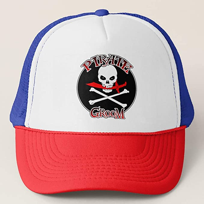 b1675007 Zazzle Pirate Groom Cap Red/White/Blue Adjustable Trucker Hat at ...