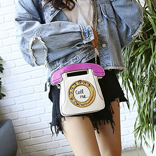 Chain PU SODIAL Retro white Telephone Purse Women Pink Clutch Body Bag Leather Cross Shaped Bag nqrPqtWOw0