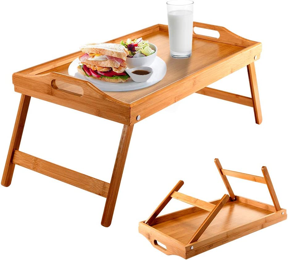 Dajianglx Bed Tray Bamboo Bed Desk for Laptop and Writing Breakfast Trays for Sofa,Bed,Eating,Working Food Tray, Bar Tray, Edible Bed Tray or Any Food Tray-Suitable ,with Foldable Legs & Handles