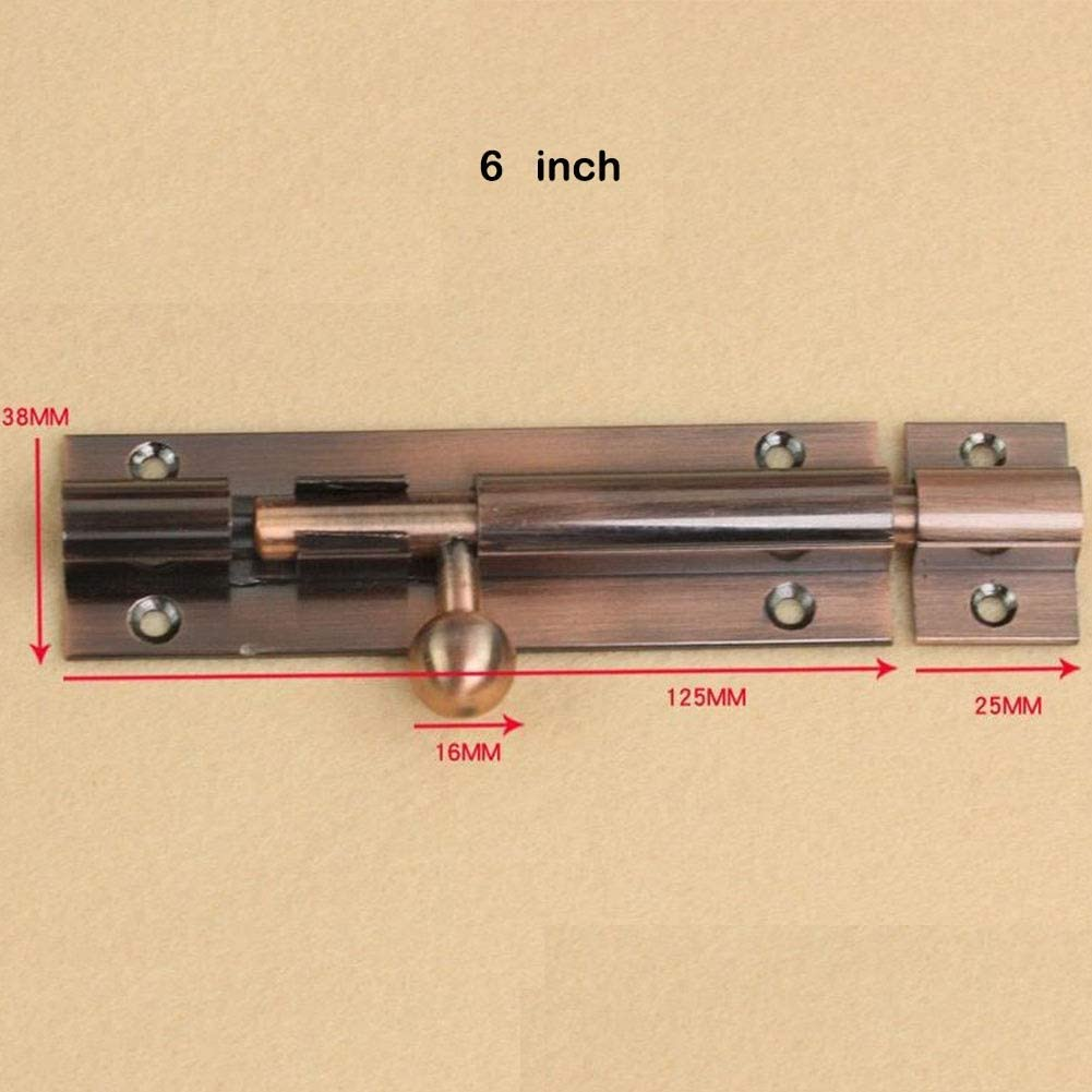 Color : Red copper, Size : 6inch MUMA Latch Red Copper Bronze Aluminum Alloy Surface Mounted Anti-theft Corrosion Resistant Insert Lock Door Buckle