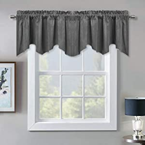 Blackout Scalloped Velvet Valance Curtains - Elegant Home Decor Rod Pocket Top Tier Curtains Thermal Insulated Energy Efficient Drapes for Kitchen/Basement, Grey, W52 x L18, 1 Panel