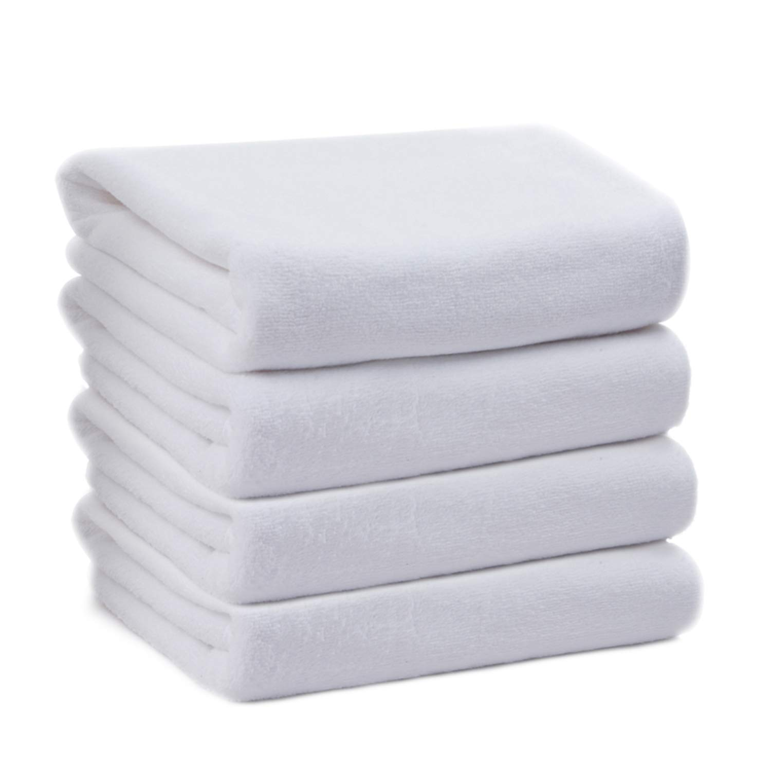 KinHwa Microfiber Large Hand Towels for Bathroom - Soft and Light Face Towels Fast Drying Wash Towels for Bath, Spa, Gym White 4 Pack