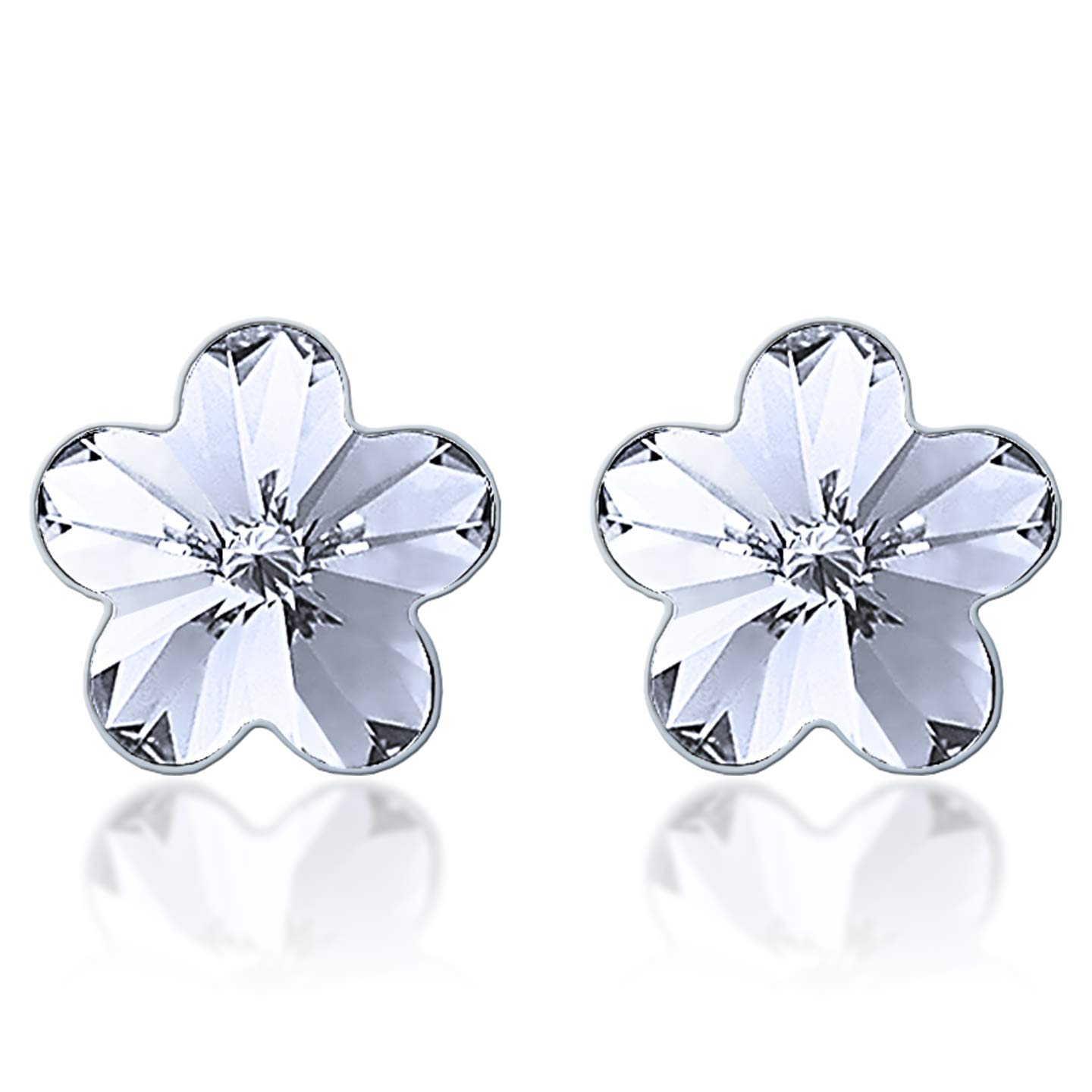 Stud Earrings with White Clear Flower Crystals from Swarovski Silver Toned Rhodium Plated
