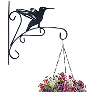 TORCHNOLOGY Iron Plant Hanger Hanging Plant Hook Bird Hanging Plant Bracket Mount Against Door Fence Deck Garage Balcony Outdoor Lawn (Hummer)
