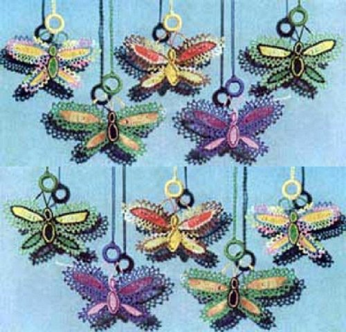 BUTTERFLY SHADE PULLS - A Vintage 1951 Crochet / Tatting Pattern - Kindle Ebook Download (digital book, e-book, decoration, decorative, butterfly, DIY, ... shade, shade pull, window treatments)