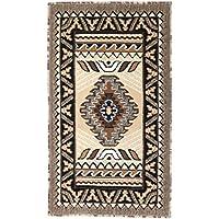 Rugs 4 Less Collection Southwest Native American Indian Door Mat Area Rug Design R4L 143 Beige / Berber (2x34)