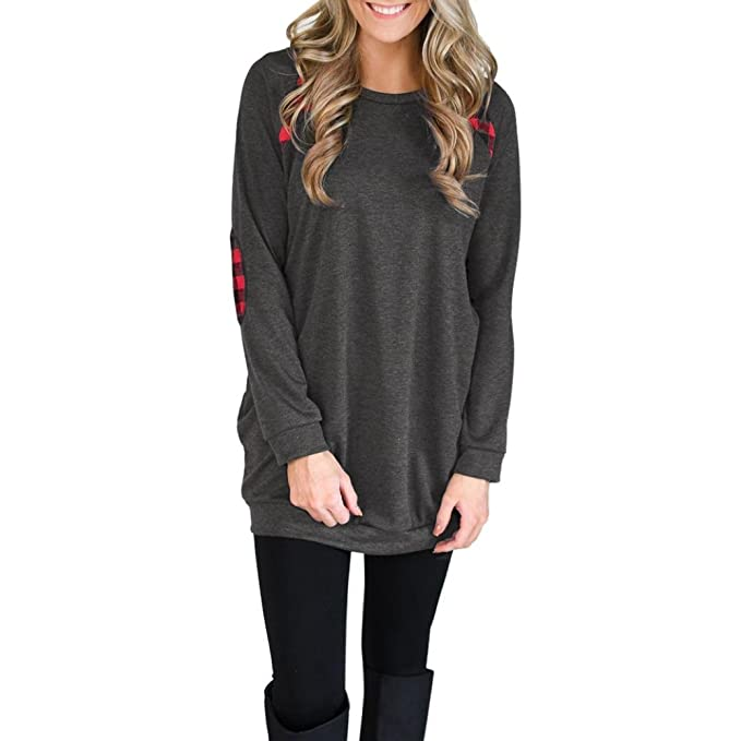 Mujer Camisetas y tops Manga Larga Elegante Moda Rayas Round Collar Algodón Blusas y camisas T