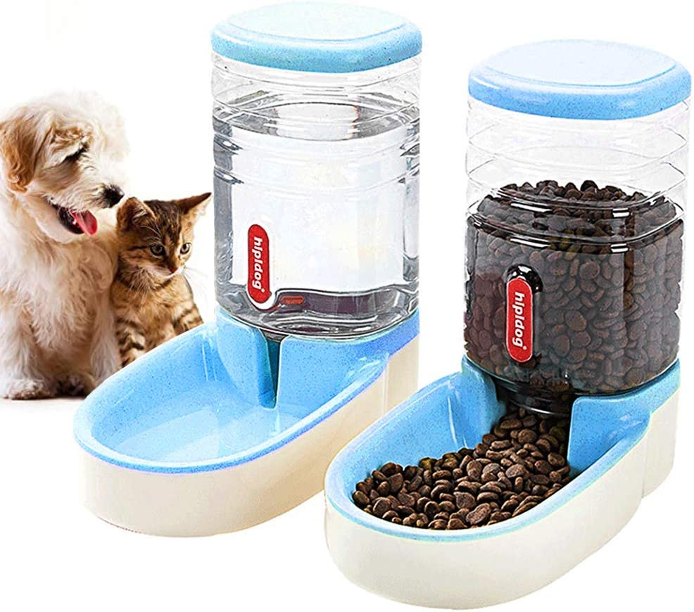 XingCheng-Sport Automatic Pet Feeder Small&Medium Pets Automatic Food Feeder and Waterer Set 3.8L, Travel Supply Feeder and Water Dispenser for Dogs Cats Pets Animals (Blue)