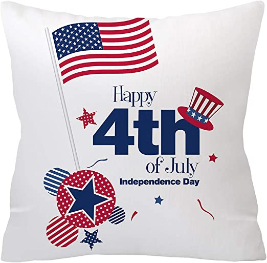 Happy July 4th Independence Day Pillow Cases Sofa Throw Cushion Cover Home Decor