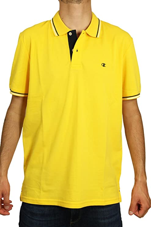 Champion m-Polo Auth Cotton Pique, Amarillo, Large: Amazon.es ...