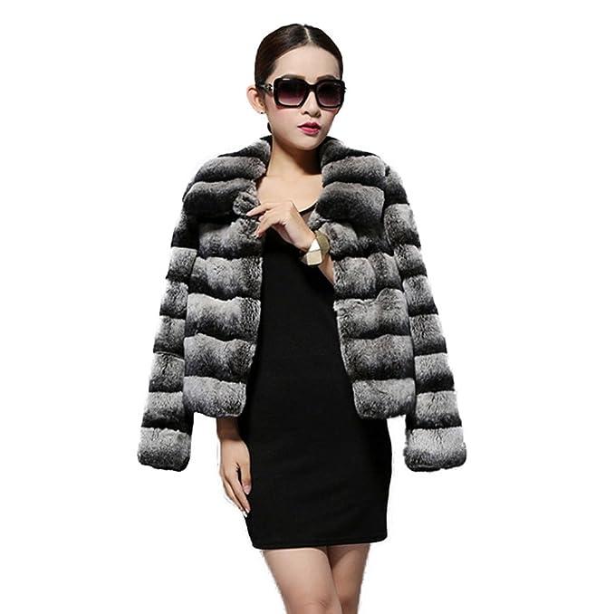 Fur Story 14114 para Mujer Corto Real Piel de Conejo Rex Abrigo 50: Amazon.es: Ropa y accesorios