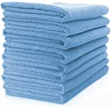 Vibrawipe Microfiber Cloth - Pack of 8 Pieces (All-Blue) Microfiber Cleaning Cloths, HIGH ABSORBENT, LINT-FREE, STREAK-FREE, For Kitchen, Car, Windows