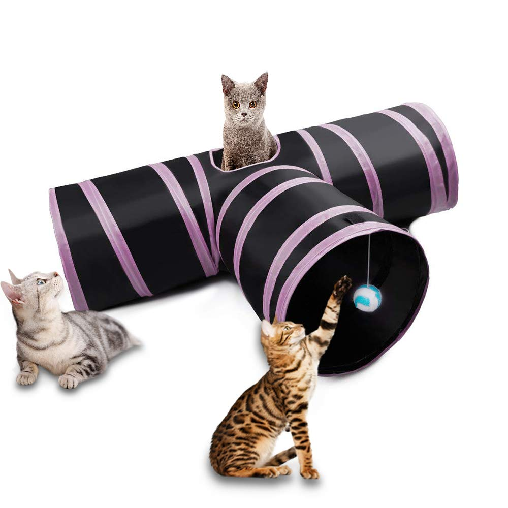 Dono Cat Tunnel Toy - Pet Puppy Tube Play Toy With Peep Hole Collapsible 3-way Interactive Wand and Ball Activity Foldable Tunnel Toy for Kitten, Rabbits, Hamster,Small Dogs