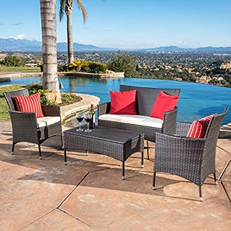 malta outdoor 4piece wicker chat set with cushions by christopher knight home brown