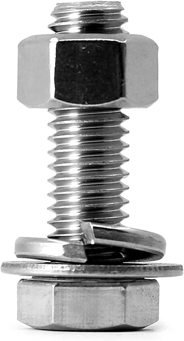 Bright Finish 8 Sets 3//8-16x1-1//2 Stainless Steel Hex Head Screws Bolts Nuts Fully Machine Thread 304 Stainless Steel 18-8 Flat /& Lock Washers Kits