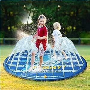 LFEWOX Splash Kids Cojín De Riego Splash Estera del Juego del Verano Al Aire Libre Jardín Actividades Familiares Agua Juguetes Prueba De Salpicaduras Pad Piscina para El Chapoteo del Agua Estera: Amazon.es: