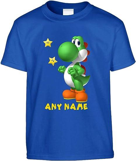 Camiseta personalizada Yoshi para niños | Camisetas impresas para niños | Camiseta de manga corta con cuello redondo | Tees personalizables | Regalo ...