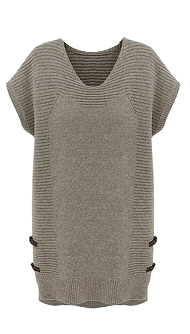 Cromoncent Womens Loose Crewneck Short Sleeve Knit Long Sweaters Vest Tops