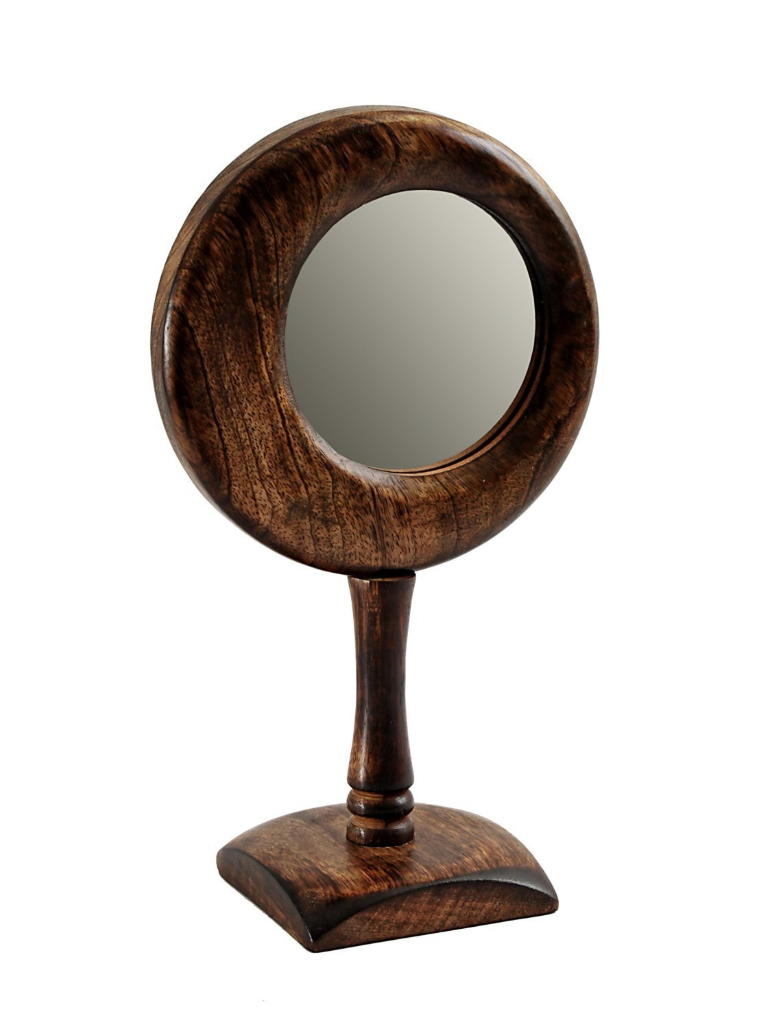 Handheld Mirror Wooden Handcrafted Decorative Vintage Fashion Beauty Accessory